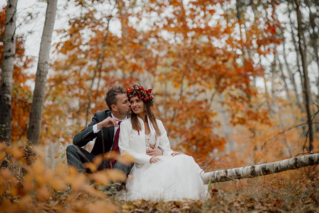 ślub jesienią - Para Młoda siedzi n drzewie